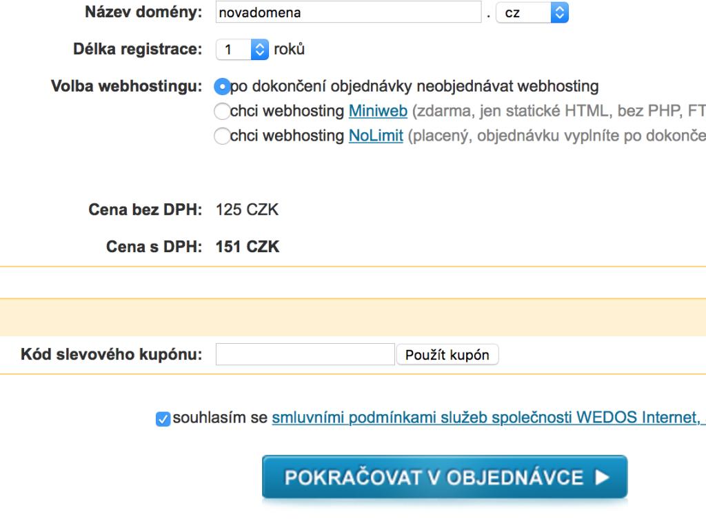 Registrace domény - první krok