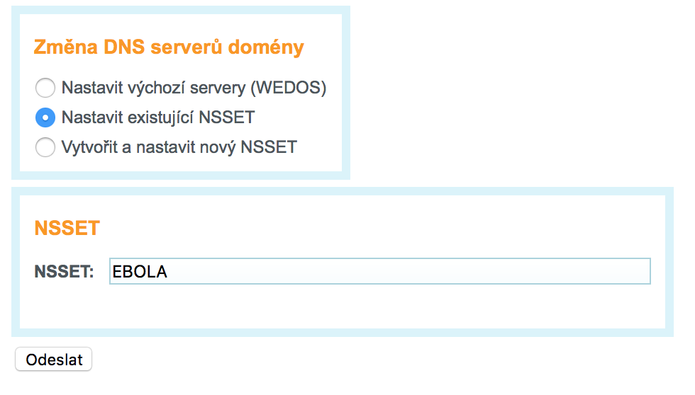 Nastavení DNS záznamů u Wedosu na EBOLA