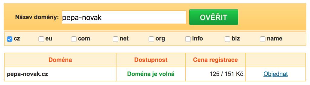 Ověření domény před registrací
