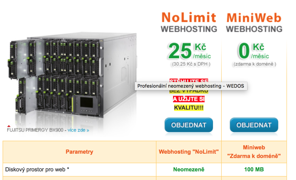 Webhosting Wedos - WordPress