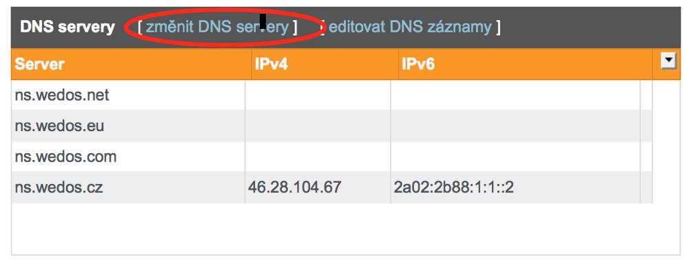 Editace DNS záznamů - Wedos