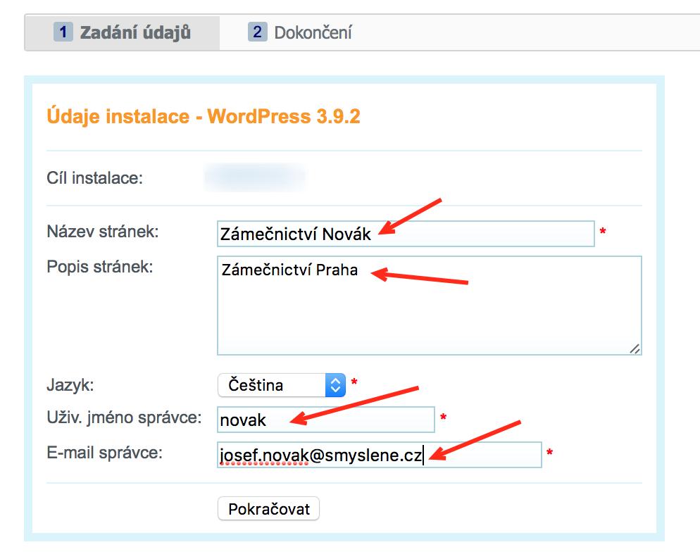 Dormulář pro instalaci WordPressu